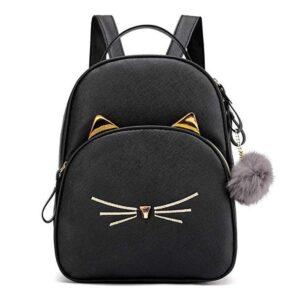 Mochila pequeña con diseño felino en negro