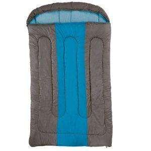 Saco de dormir doble azul y marrón